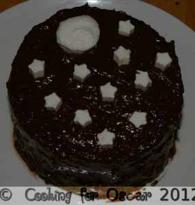 Mini Chocolate or Carob Cake with Moon and Stars Decoration