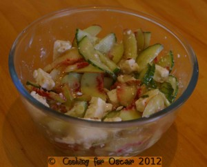 Nectarine, Cucumber, Feta and Almond Salad