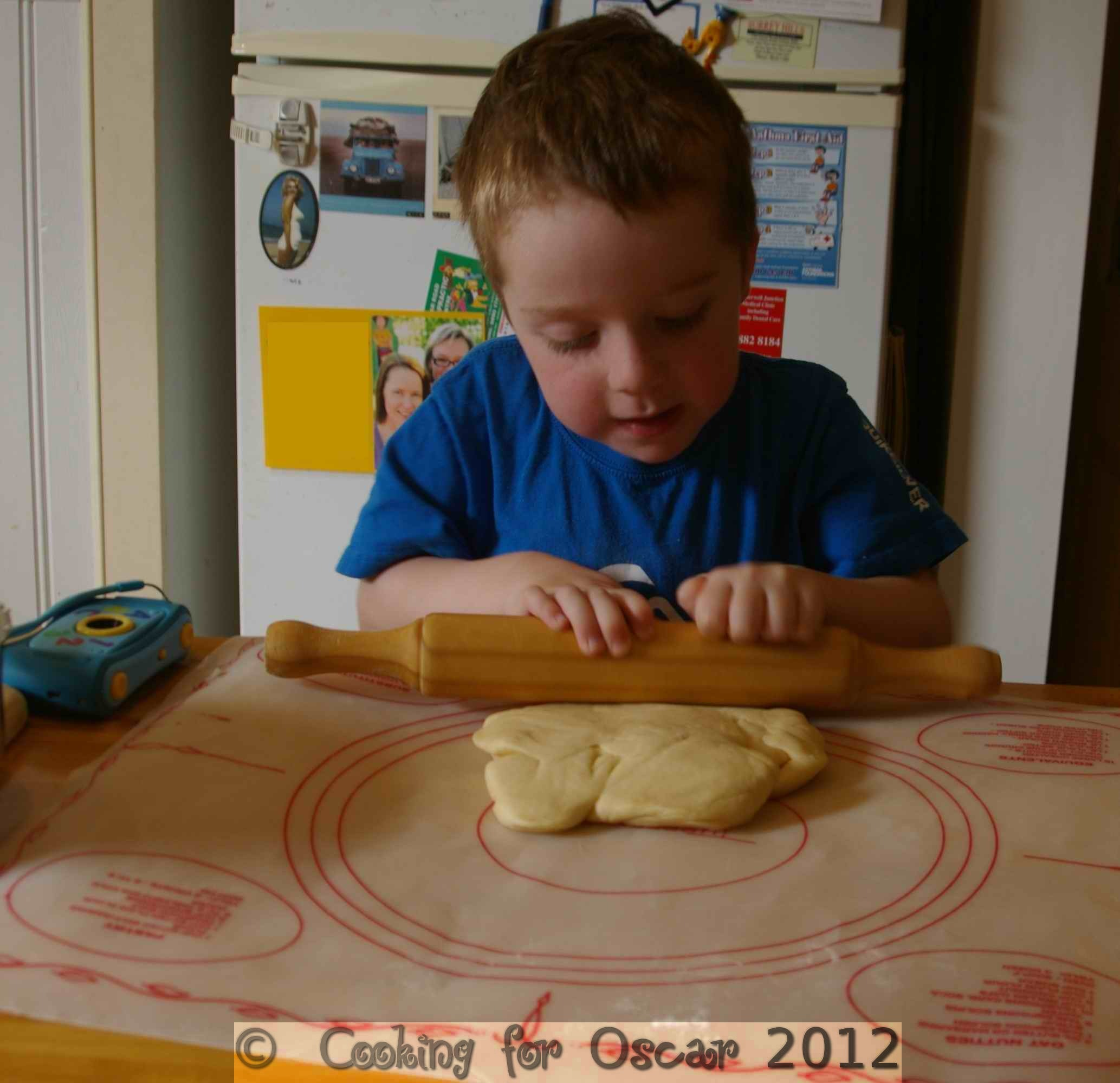 Rolling out dough for Vanilla Buns