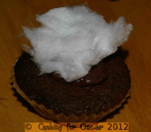 Bunny Tails (Mini Chocolate Fudge Cup Cakes with Fairy Floss)