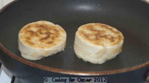 Crumpets cooking