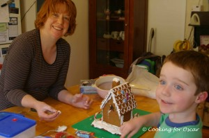 Decorating our Gingerbread House