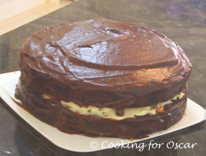 Best Ever Carob Cake with Jam and Cream Filling