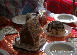 Ice Cream Bombe and Gingerbread House