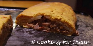 Savoury Calzone with potato, mince and gravy filling, using sweet potato spelt and rye dough.